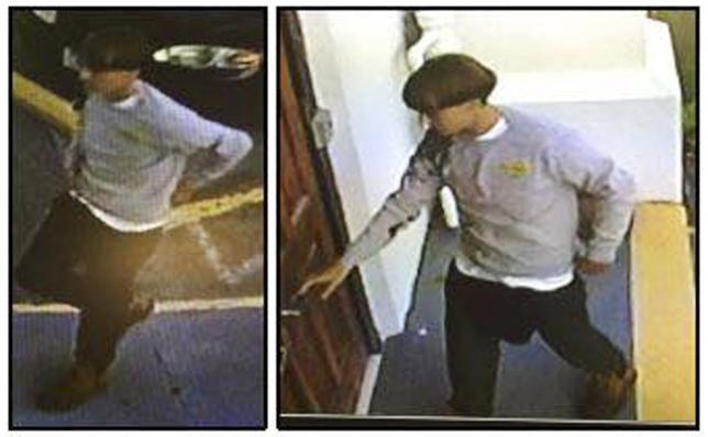 CCTV video stills show a suspect which police are searching for in connection with the shooting of several people at a church in Charleston